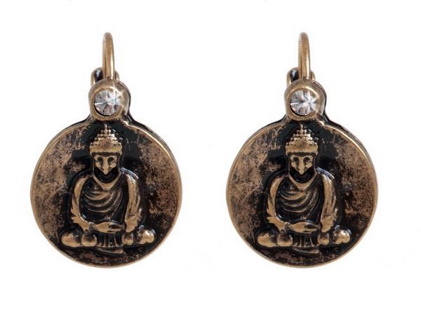 Серьги с покрытием бронзой(1032-1901)Будда<br>Серьги выполнены из ювелирного сплава покрытого состаренной бронзой. Диаметр декоративного элемента- 1,5 см. Дужка изготовлена из гипоаллергенной хирургической стали.<br>