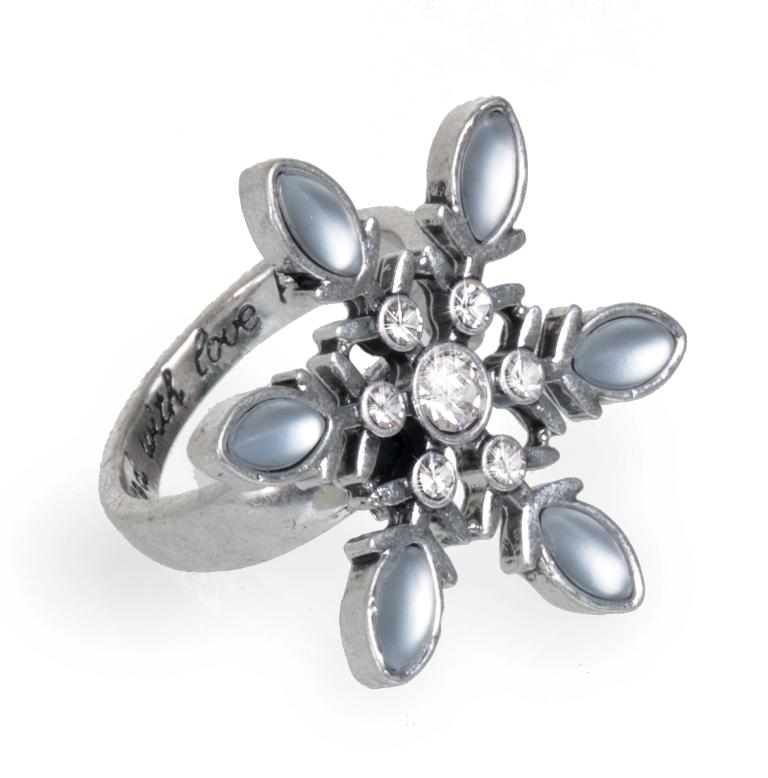 Кольцо покрытое серебром(4032-0398)Зимние Мечты<br>Кольцо безразмерное<br>