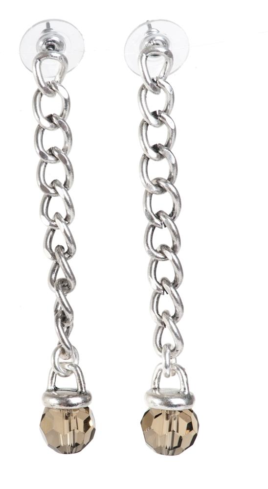 Серьги покрытые серебром(1032-1740)Классика 70-х в серебре<br>Arts&amp;Crafts, Норвегия<br>Серьги выполнены из ювелирного сплава покрытого серебром 925 пробы. Длина 7  см. Гвоздик  изготовлен из гипоаллергенной хирургической стали.<br>