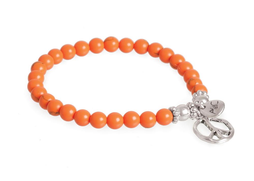 Браслет оранжевый. знак мира(3018-0263)Символы<br>Arts&amp;Crafts, Норвегия<br>Браслет из акриловых бусин на резинке , подвеска 1,5 см.<br>