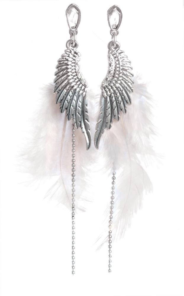 Серьги серебряные крылья с перьями(1032-1975)