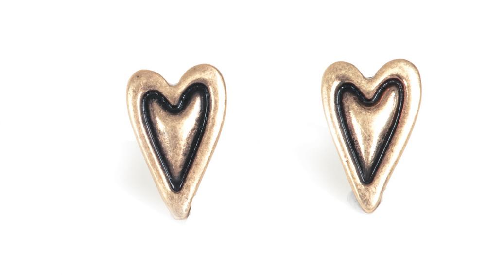 Серьги сердечки с покрытием бронзой(1032-1995)Подарки к Дню Святого Валентина<br>Серьги выполнены из ювелирного сплава покрытого состаренной бронзой. Гвоздик изготовлен из гипоаллергенной хирургической стали. Сердечко 1,5 см.<br>