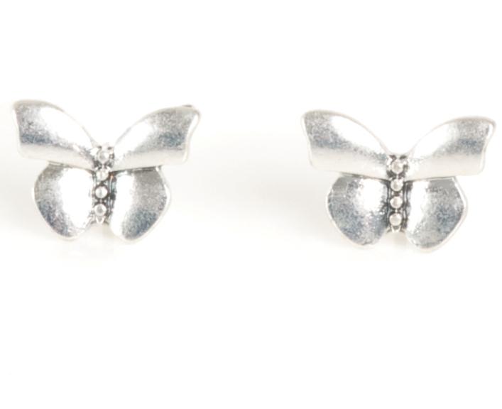 Серьги-серебряные бабочки(1032-2017)Летние мечты<br>Arts&amp;Crafts, Норвегия<br>Серьги выполнены из ювелирного сплава покрытого серебром 925 пробы. Декорированы стразами Swarovski, гвоздик изготовлен из гипоаллергенной хирургической стали. Размах крыльев бабочки 1,1 см<br>
