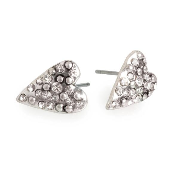 Серьги в форме сердца(1018-0183)Подарки к Дню Святого Валентина<br>Серьги покрытые серебром со стразами Сваровски.<br>