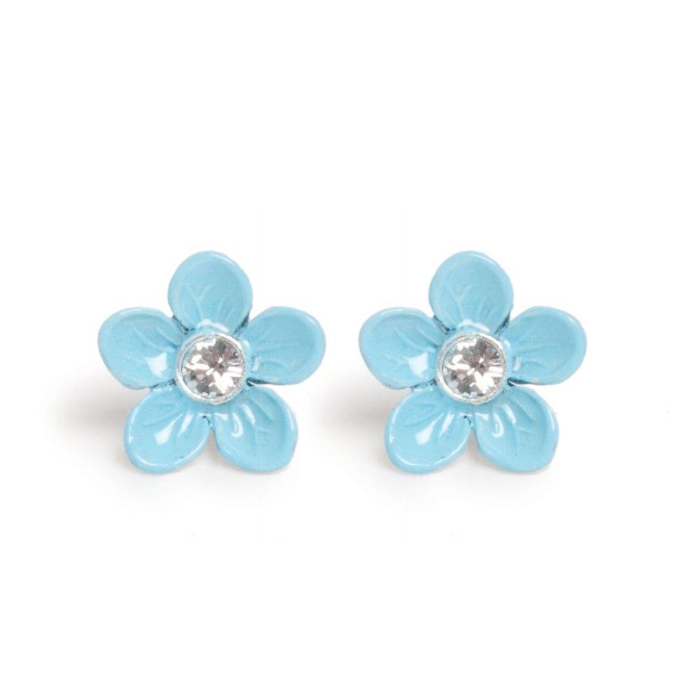 Серьги в форме цветка голубые(1032-2145)Цветы<br>Arts&amp;Crafts, Норвегия<br>Серьги-гвоздики выполнены из гипоаллергенного сплава, на лепестки нанесена эмаль, декорированы стразами Сваровски.<br>
