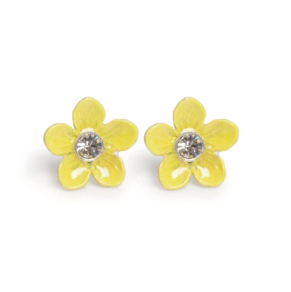Серьги в форме цветка желтые(1032-2148)Цветы<br>Arts&amp;Crafts, Норвегия<br>Серьги-гвоздики выполнены из гипоаллергенного сплава, на лепестки нанесена эмаль, декорированы стразами Сваровски.<br>Размер серег 1,8 см<br>
