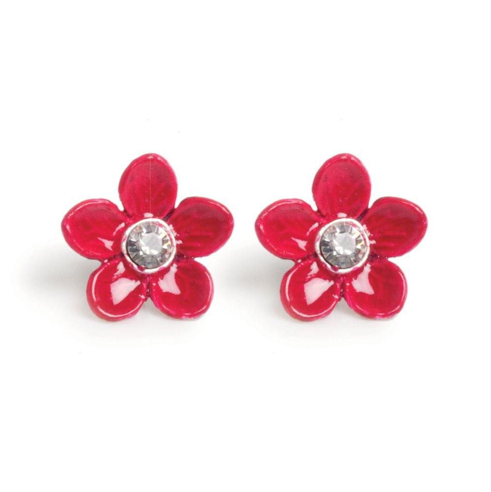 Серьги в форме цветка красные(1032-2150)Цветы<br>Arts&amp;Crafts, Норвегия<br>Серьги-гвоздики выполнены из гипоаллергенного сплава, на лепестки нанесена эмаль, декорированы стразами Сваровски.<br>Размер 1,2 см<br>