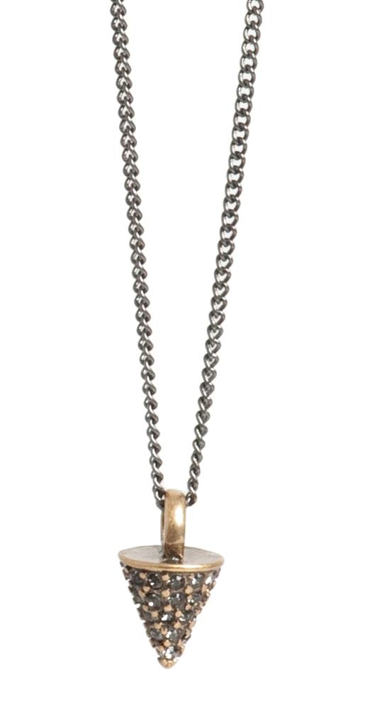 Колье(2032-2296)Сверкающие шипы<br>Arts&amp;Crafts, Норвегия<br><br>Авторский дизайн, ручная работа, ограниченный выпуск.<br><br>Вдохновением для коллекции послужили популярные в этом сезоне стили гранж и панк. В качестве материалов использованы кристаллы Swarovski,  покрытия из золота и серебра и черные шнуры из натуральной кожи.<br><br>Длина колье 45 см.<br>