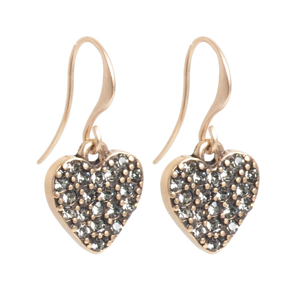 Серьги(1032-2280)Подарки к Дню Святого Валентина<br>Earr. hook, Love Actuelly, B, heart, crystal stones<br>