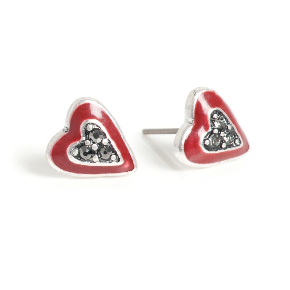 Серьги в форме сердца(1032-2281)Подарки к Дню Святого Валентина<br>Серьги выполнены из гипоаллергенного сплава, покрытого серебром 925 пробы. Эмаль нанесена вручную. Дужка из хирургической стали.<br>