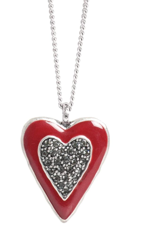 Колье с подвеской в форме сердца(2032-2320)Подарки к Дню Святого Валентина<br>Колье 85 см.<br>Колье выполнено из гипоаллергенного сплава, покрытого серебром 925 пробы. Эмаль нанесена вручную. Подвеска инкрустирована стразами Swarovski<br>