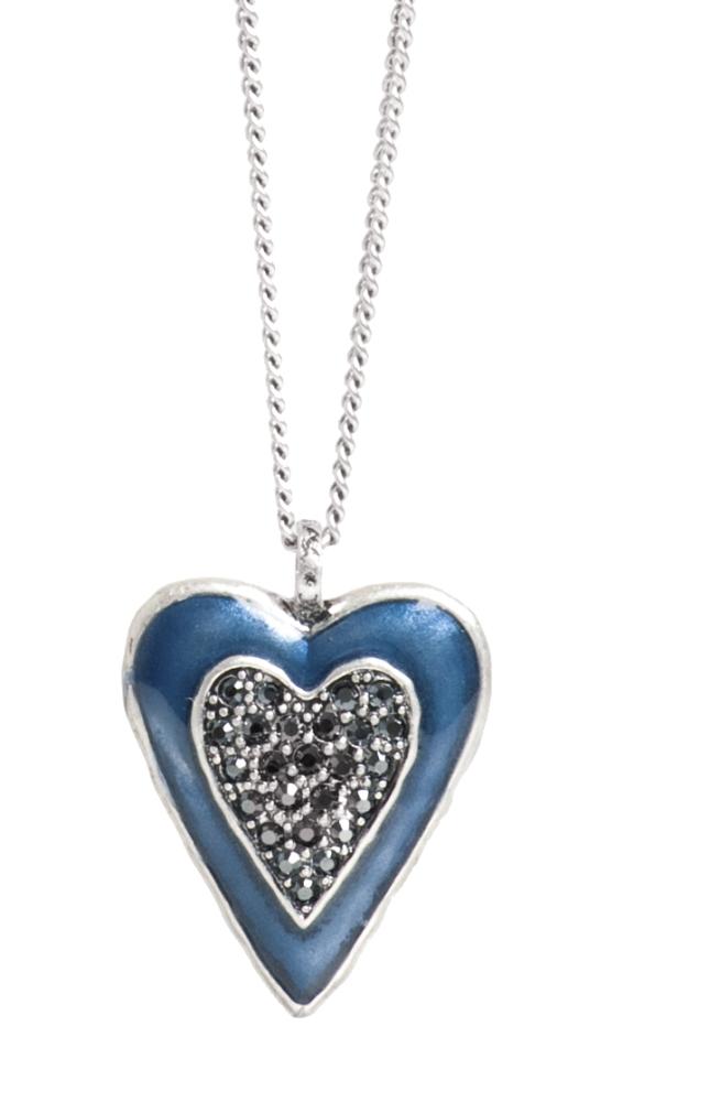 Колье с подвеской в форме сердца(2032-2321)Подарки к Дню Святого Валентина<br>Колье 85 см.<br>Колье выполнено из гипоаллергенного сплава, покрытого серебром 925 пробы. Эмаль нанесена вручную. Подвеска инкрустирована стразами Swarovski<br>