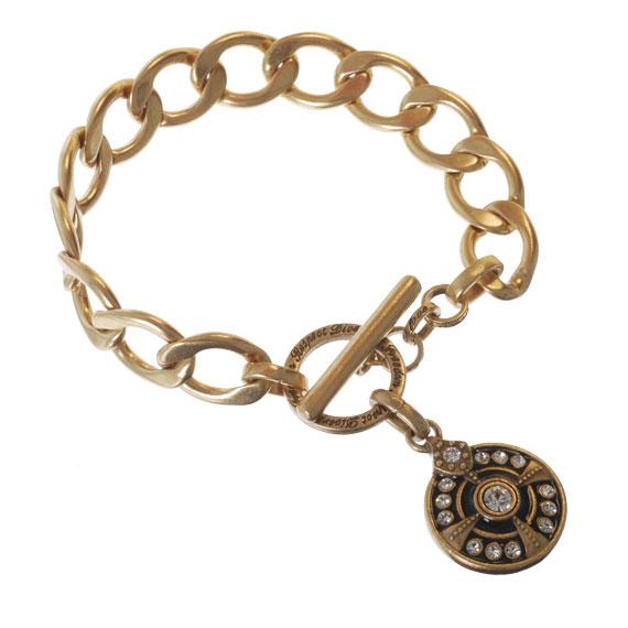 Браслет(3032-0492)Монеты<br>Браслет изготовлен из специального сплава покрытого золотом. Для декора использованы стразы Swarovski . Не содержит никеля и других аллергенных металлов.<br>Диаметр  кулона 2см. ;длина 19см.<br>