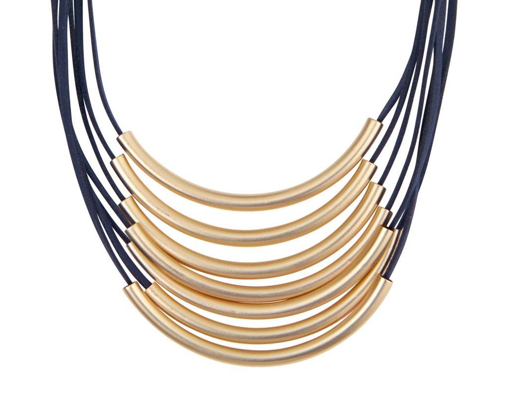 Колье на замшевых шнурках(9C832)Paige<br>Дания, Dansk Smykkekunst<br><br>Покрытие золото и замшевый шнурок цвет тёмно-синий.<br>Длина колье 45 см.<br>
