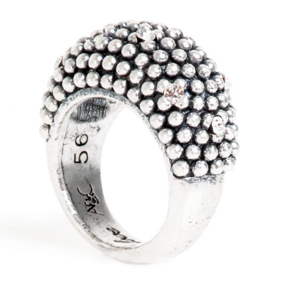 Кольцо(4032-0356)Бриллиантовый шар в серебре<br>Кольцо размер 19<br>