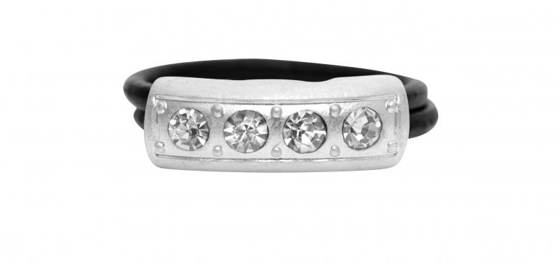 Кольцо(1c287)Medina<br>Кольцо с серебряным покрытием, стразами Swarovski, телячьей кожей<br><br>Размер кольца S,M,L.<br>