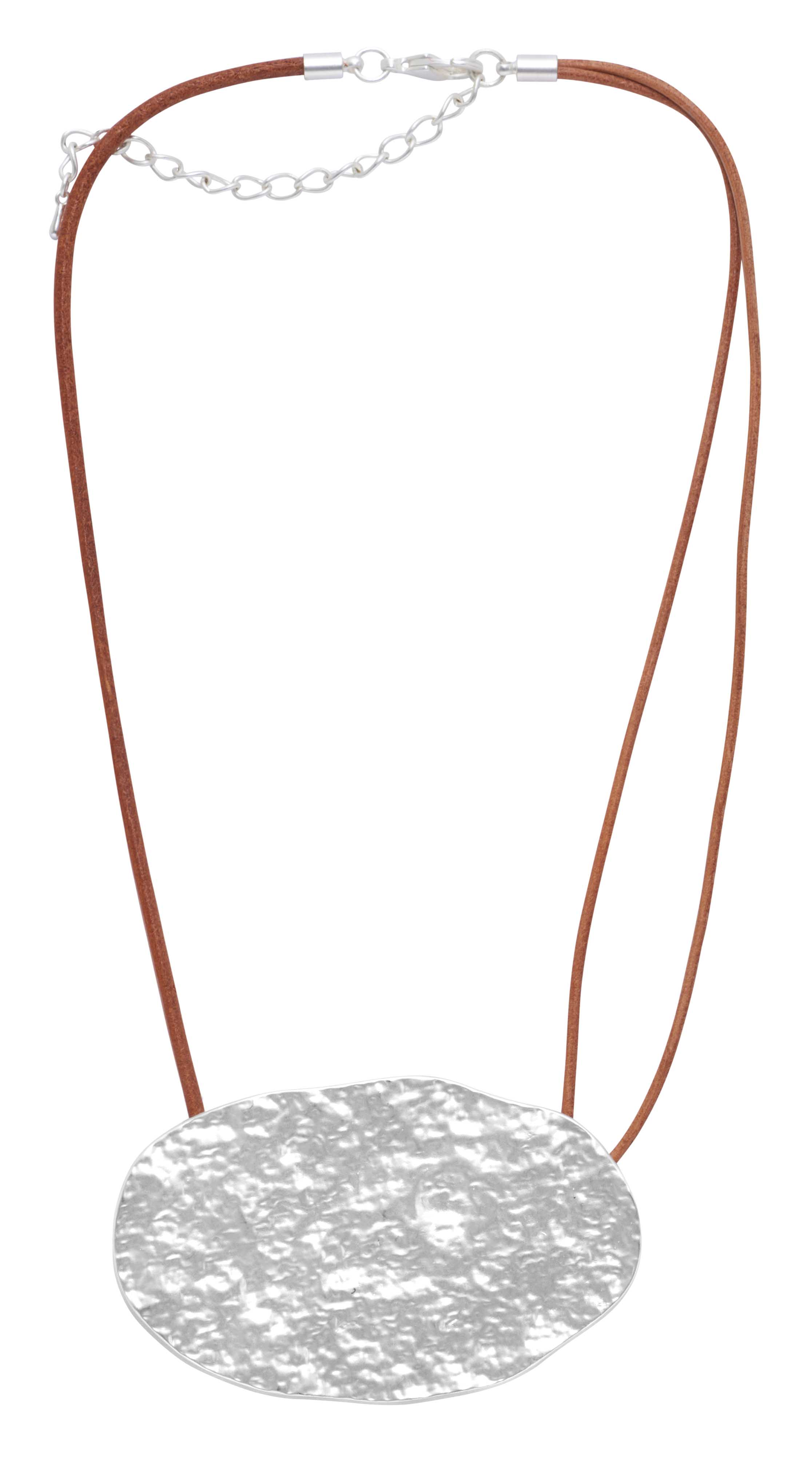 Колье на кожаном шнурке(9C927)Ronja<br>Дания, Dansk Smykkekunst<br><br>Длина колье 45 см<br>Размер декоративного элемента 7,5х4,5см.<br>