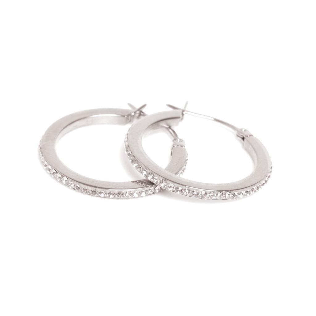 Серьги из стали  покрытые серебром с цирконами(1046-0039)Бижутерия из стали от Arts&amp;Crafts<br>Arts&amp;Crafts, Норвегия<br><br>Авторский дизайн, ручная работа, ограниченный выпуск.<br>