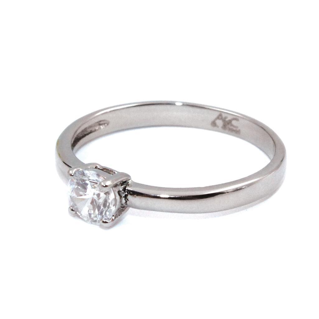Кольцо из стали с серебряным покрытием и вставкой из циркона(4046-0018)Бижутерия из стали от Arts&amp;Crafts<br>Кольцо покрытие серебро 925пробы, вставка циркон.<br>Размер 19<br>