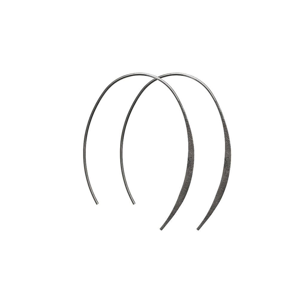 Серьги(3H528)Mix &amp; Match серьги<br>Дания, Dansk Smykkekunst<br><br> Гипоаллергенный сплав,  гематитовое покрытие<br><br>Диаметр кольца5 см<br>