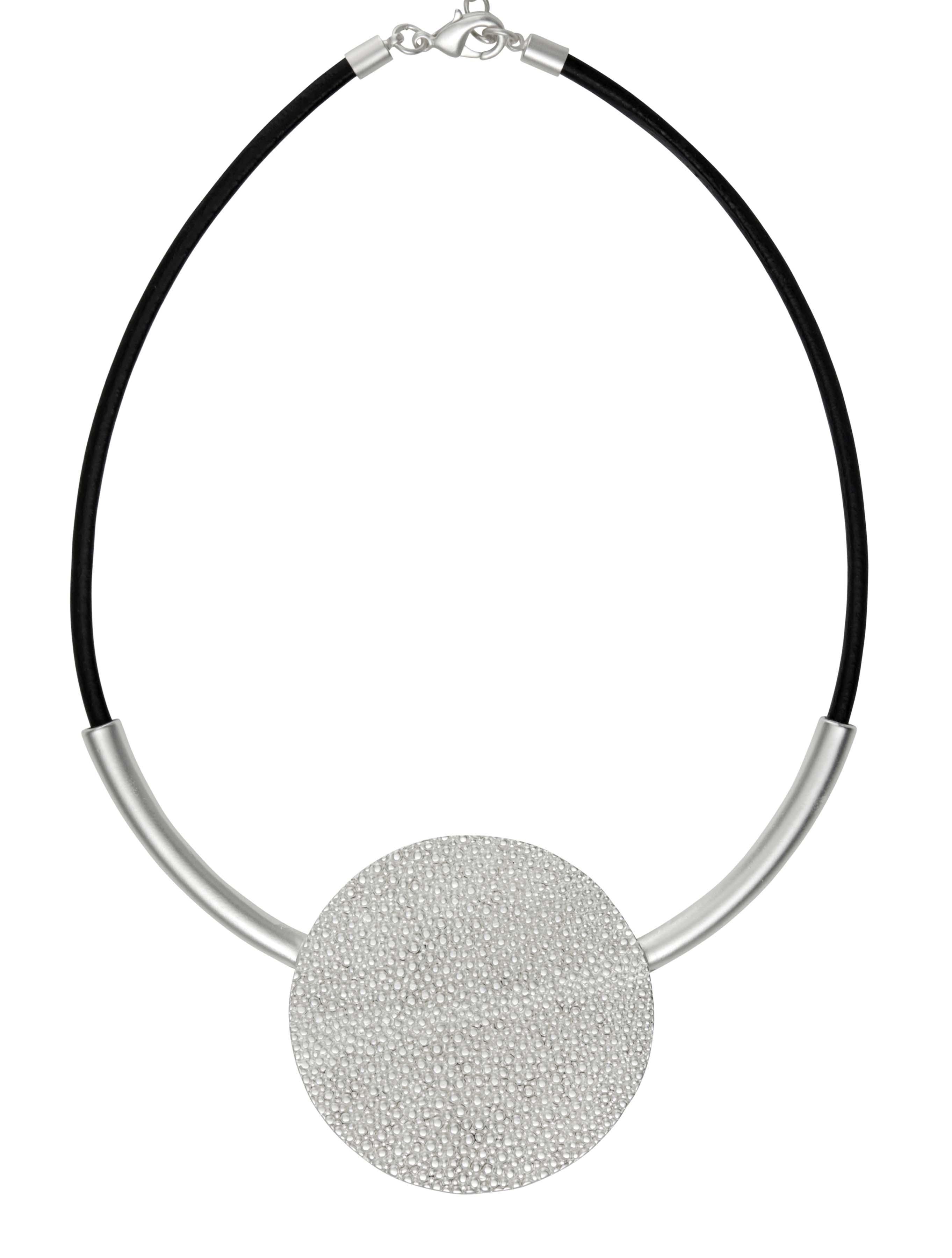 Колье(9C181)Shirley<br>Дания, Dansk Smykkekunst<br><br>Гипоаллергенный сплав, покрытый серебром; кожа<br><br>Длина колье 45 см<br>