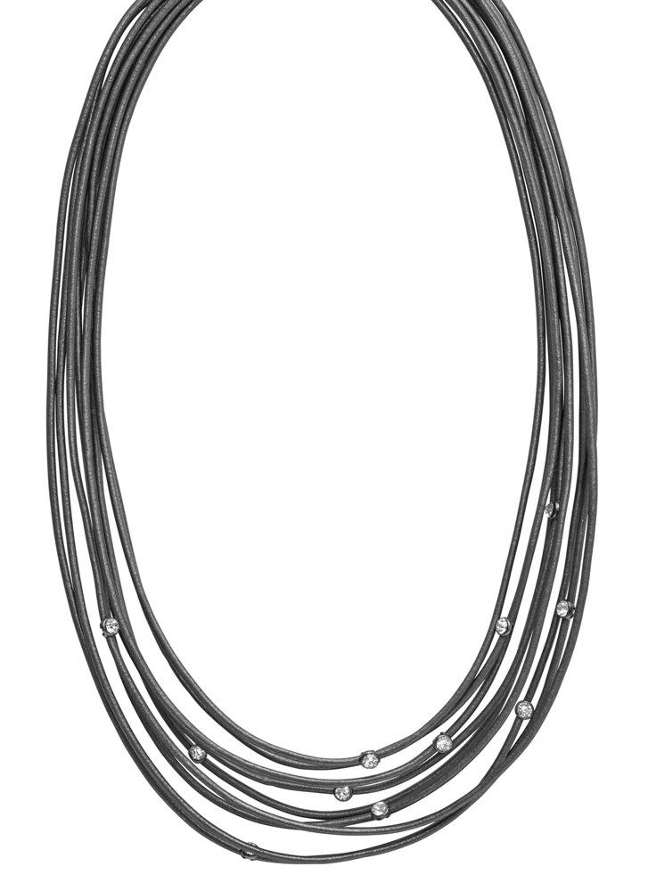 Колье многорядное(9C198)Steffie<br>Дания, Dansk Smykkekunst<br><br>Гипоаллергенный сплав, покрытый серебром; кожа; стразы Swarovsky<br>Длина колье 45 см<br>