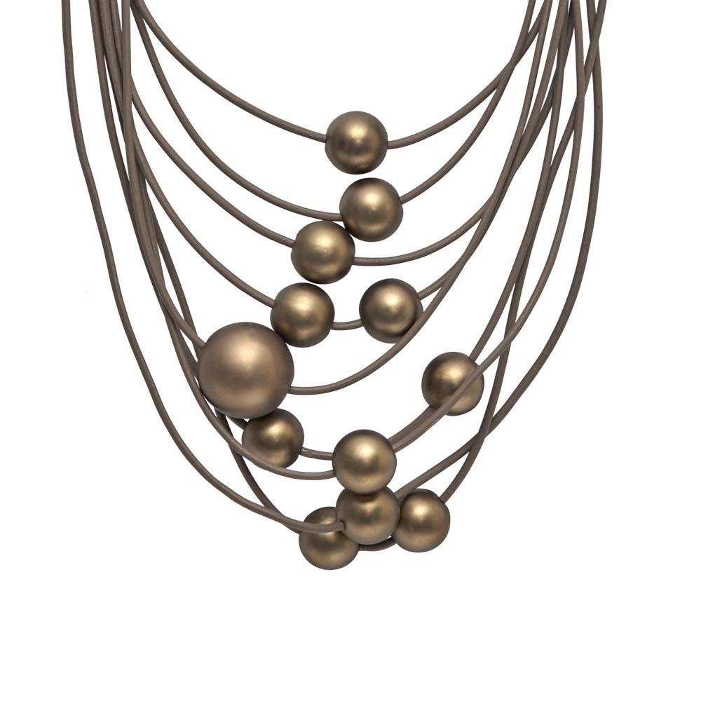 Колье(9C228)Sonya<br>Дания, Dansk Smykkekunst<br><br>Гипоаллергенный сплав, покрытый золотом; кожа<br><br><br>Длина колье 45 см<br>