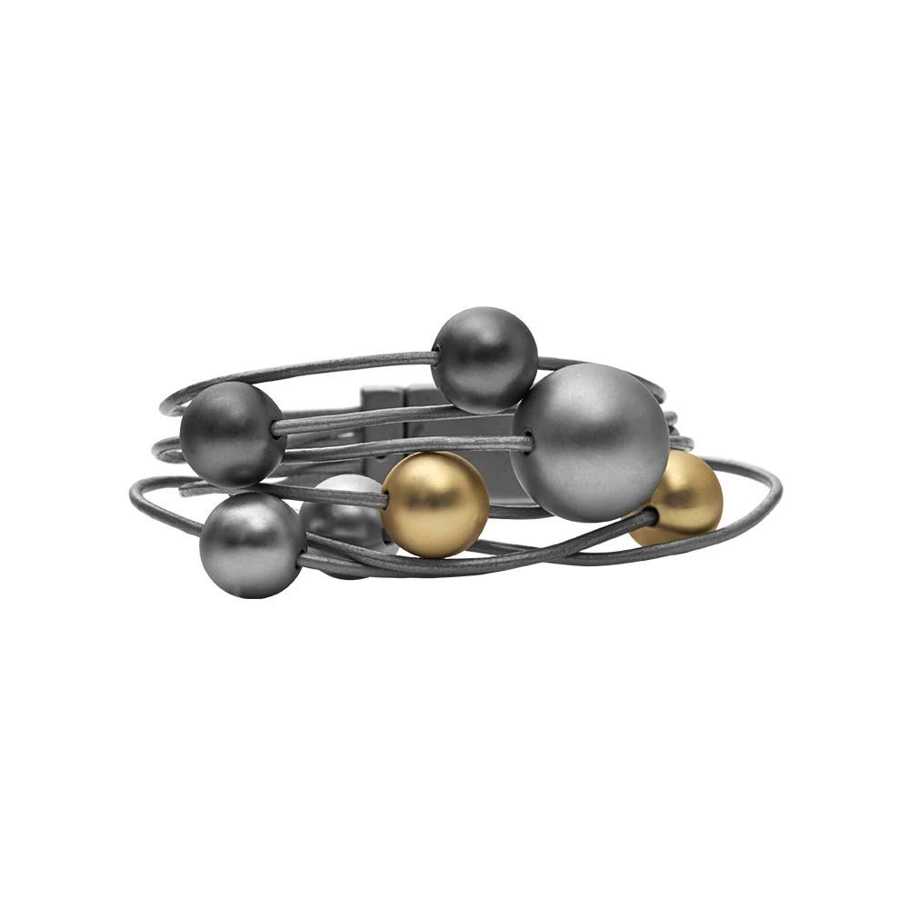 Браслет(7C232)Sonya<br>Дания, Dansk Smykkekunst<br><br>Гипоаллергенный сплав, покрытый золотом, серебром, гематитом; кожа<br>