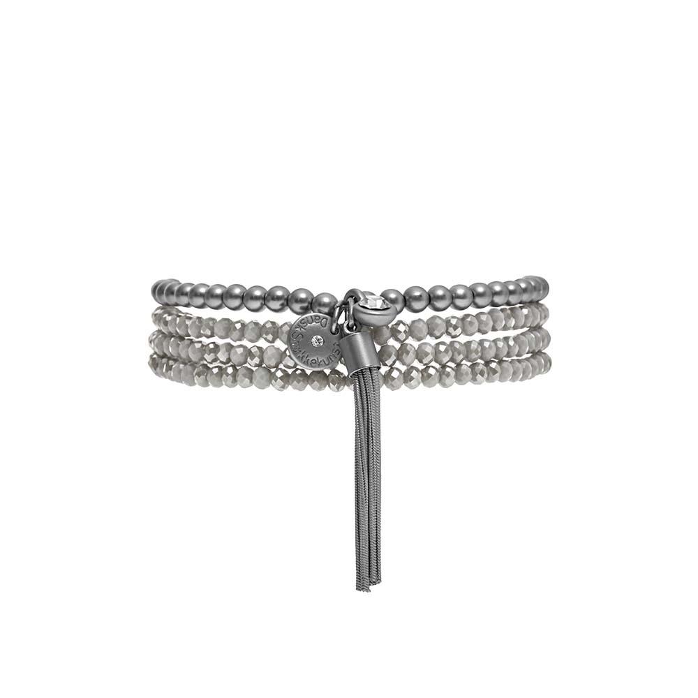 Колье-браслет трансформер(9C273)Suzy<br>Дания, Dansk Smykkekunst<br><br>Гипоаллергенный сплав, покрытый серебром; натуральные камни<br>Длина колье-браслета 90 см. Основа-эластичная резинка<br>