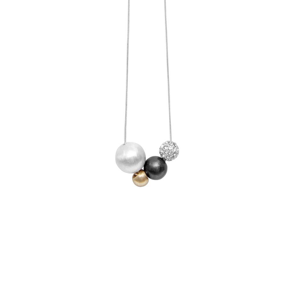 Колье(9H258)Simone<br>Дания, Dansk Smykkekunst<br><br>Гипоаллергенный сплав, покрытый золотом, серебром, стразы Swarovsky<br>Длина колье 110 см<br>