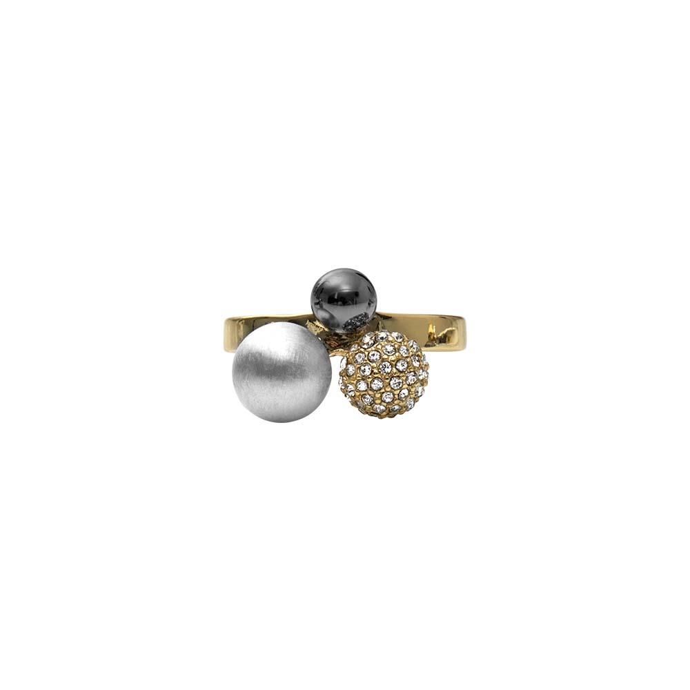 Кольцо(1H593)Simone<br>Дания, Dansk Smykkekunst<br><br>Гипоаллергенный сплав, покрытый золотом, серебром, стразы Swarovsky<br>