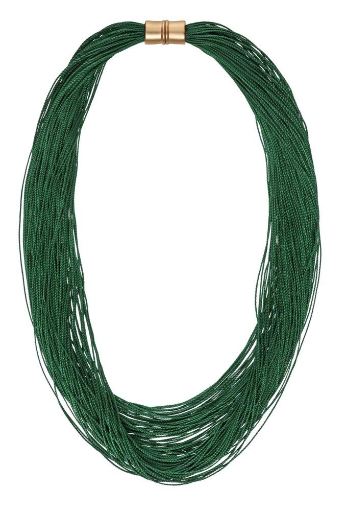 Колье -текстиль(9C241)Sanne<br>Дания, Dansk Smykkekunst<br><br>Текстиль, метелл с нанесением золота<br>Длина колье 50 см<br>