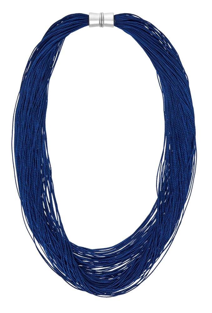 Колье-текстиль(9C238)Sanne<br>Дания, Dansk Smykkekunst<br><br>Текстиль, металл с нанесением серебра<br>Длина колье 50 см<br>