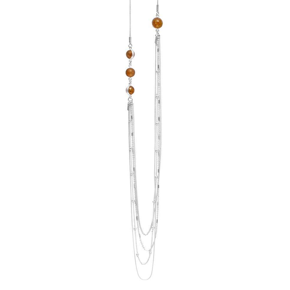 Колье(9C250)Suzy<br>Дания, Dansk Smykkekunst<br><br>Гипоаллергенный сплав, покрытый серебром; натуральные камни<br>Длина колье 100 см<br>
