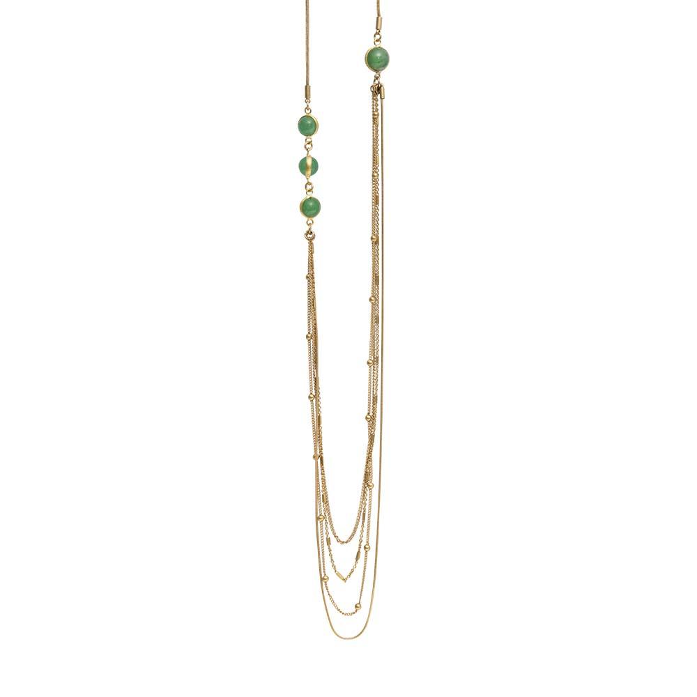 Колье(9C252)Suzy<br>Дания, Dansk Smykkekunst<br><br>Гипоаллергенный сплав, покрытый золотом; натуральные камни<br>Длина колье 100 см<br>