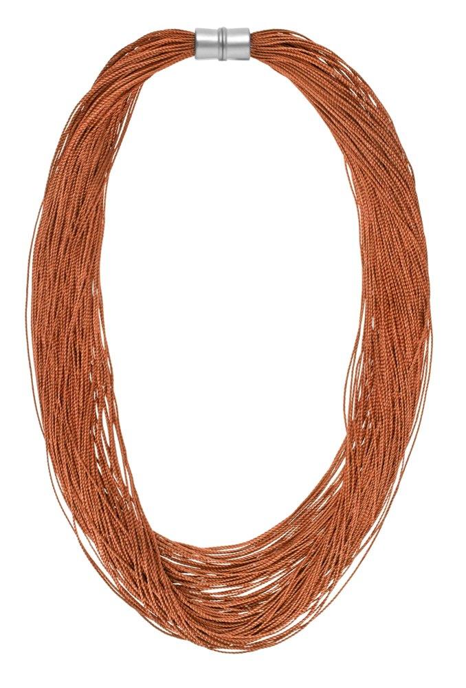 Колье-текстиль(9C239)Sanne<br>Дания, Dansk Smykkekunst<br><br>Текстиль, металл с посеребрением.<br>Длина колье 50 см<br>