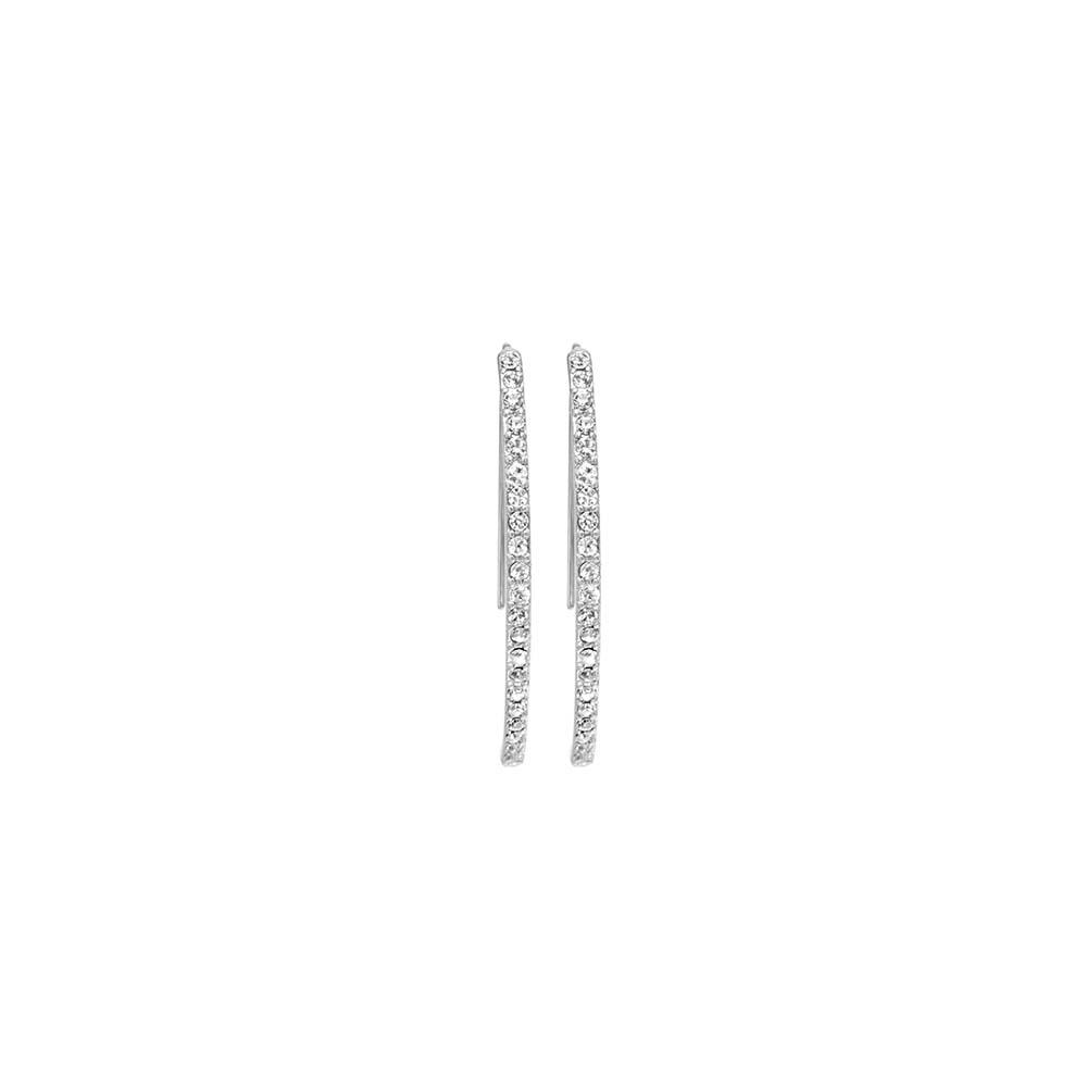 Серьги(3H845)Mix &amp; Match серьги<br>Дания, Dansk Smykkekunst<br><br> Гипоаллергенный сплав, покрытие серебром, стразы Swarovski<br><br>Длина серег 4,5 см<br>
