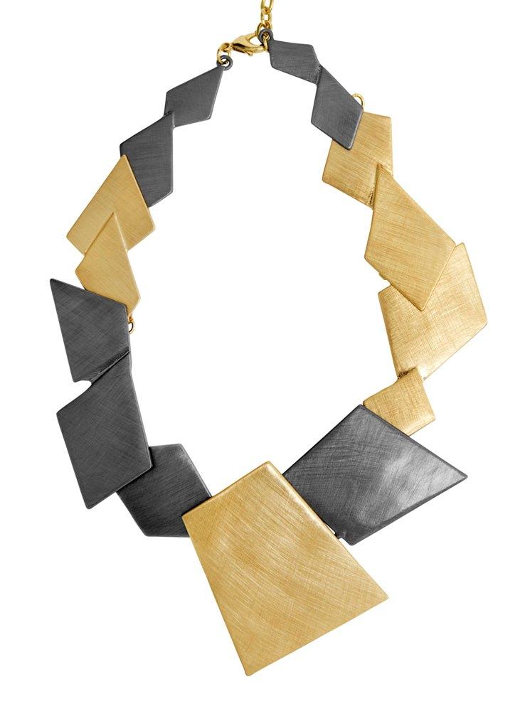 Колье(9H355)Summer<br>Дания, Dansk Smykkekunst<br><br>Гипоаллергенный сплав, покрытый золотом, гематитом<br><br>Длина колье 45 см<br>