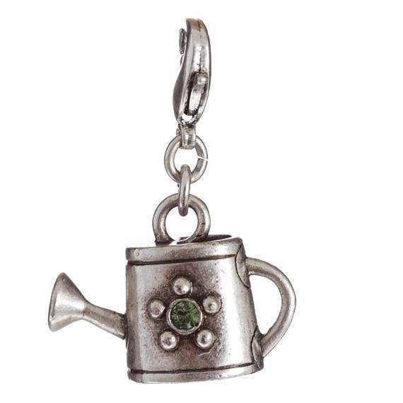 Кулончик(8032-0203)Кулончики для цепочек<br>Специальный сплав покрыт тонким слоем серебра 925 пробы. Леечка украшена зеленым стразиком Swarovski.  Не содержит никеля и других аллергенных металлов.<br>