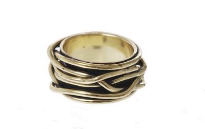 Кольцо из состаренной бронзы(4027-0432)Золотой Огонь<br>Кольцо размер 16<br>